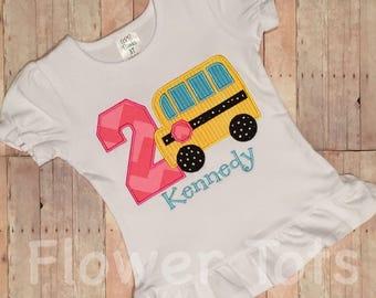 Wheels on the Bus Birthday Shirt - applique, custom, monogram, personalized