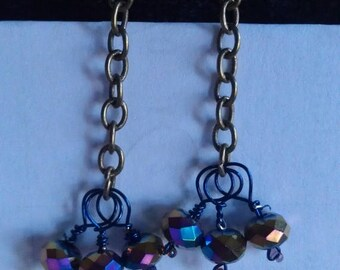 On Sale At Etsy Price Drop was 7.50 now 5.70.Earrings, Wire Wrapped, Iridescent, Metallic Faceted Crystal Rondelles ,Oxidized Solid Brass Wi