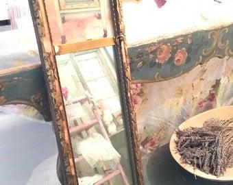Reserved shabby chic  vintage mirror chippy aqua  Bohemian prairie cottage