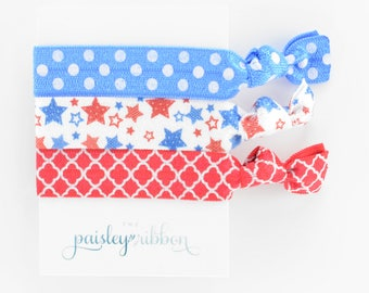 4th of July hair tie set, red white and blue hair ties, stars elastic, USA, fourth of July, Olympics, team USA, party favor, fourth of july