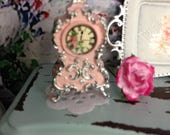 Dollhouse Miniature Shabby Chic Pink with Silver accents French Rococo Style Mantel Clock