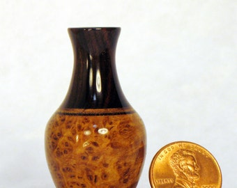 Black Ash Burl & Blackwood Turned Wood Miniature Vase