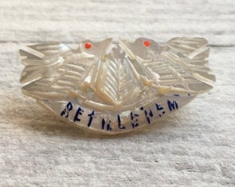 Mother of Pearl Bethlehem brooch - Holy Land - Religious Jewellery - Peace Dove - hand carved