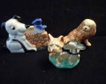 Ceramic dogs lot of 3 - Beagle planter - Lustreware French Bulldog Ashtray - Spaniel Figurine - Vintage Dog Puppies Collectible Dog Critters