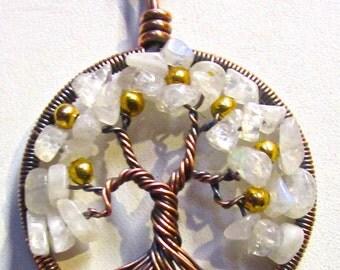 Golden Apple Tree of Life  Moonstone Gemstones, Golden Apple Tree Pendant, Tree of Life Pendant, Antiqued Copper Tree