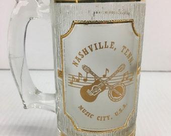 Vintage Nashville TN - Music City USA - Glass Drinking Mug 22k gold