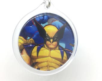 Upcycled Comic Book Keychain Featuring - Wolverine and Rogue