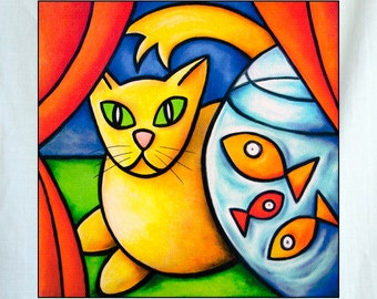 Yellow Cat and Fish Bowl Small Canvas Wall Art 6x6x1.5