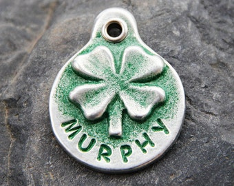 Dog Tag for Dog - Shamrock Dog Tag - Dog ID Tag - Handmade - Hand Stamped Dog Tag - Personalized - Pet Tags