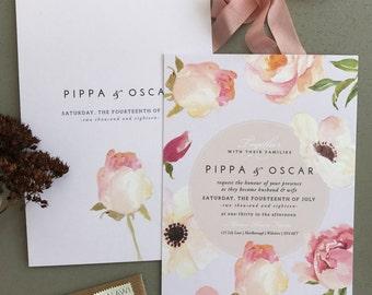 FLORENCE No.3 | Rustic Wedding Invitations, Wedding Invites, Wedding Invite, Blush and Rose Wedding Invitation Rustic - Sample Set