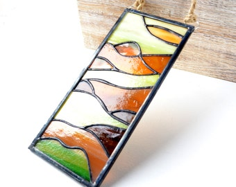 Stained Glass Panel Suncatcher Golden Reflections Amber Light Green Orange  Glass by jacquiesummer