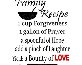 SVG - Family Recipe - DXF - Kitchen Decor Design - Kitchen Towel - Kitchen Sign - Pallet Sign Design - Bridal Wedding Shower - Housewarming