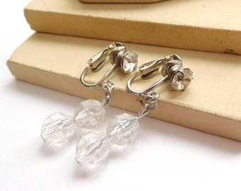 Vintage Clear Rhinestone Faceted Bead Dangle Silver Tone Clip On Earrings