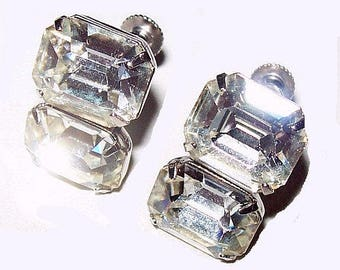 """Rhinestone Wedding Earrings Emerald Cut Silver Metal Sterling 1"""" Vintage Mid Century"""