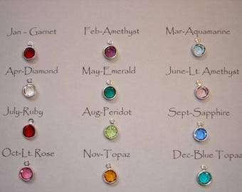 Silver Plated Crystal Birthstone - Add On Only