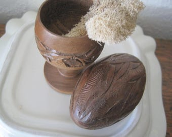 Vintage Hand Carved Egg and Egg Cup