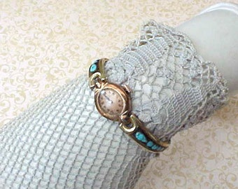 Unusual Vintage Watchband Set with Turquoise and Including Gruen Watch