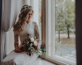 Vintage Lace Wedding Dress,Hippie Wedding Dress,Boho Wedding Dress,Wedding Dress with Train,Long Sleeve,Lace Sleeves, Bohemian Wedding Dress