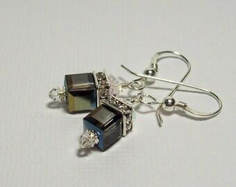Swarovski Crystal Earrings. Heliotrope Crystal Earrings. Sterling Silver Swarovski Earrings. Dressy. Sparkly. Swarovski Dangle Earrings.