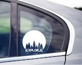Explore Trees Car Window Vinyl Decal Cling