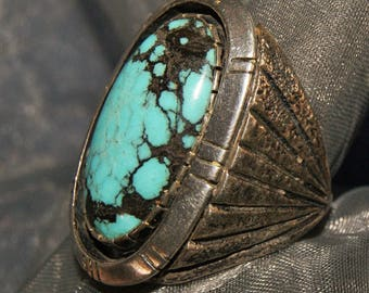 HUGE HOPI TUFACAST Turquoise Ring Sterling c1950