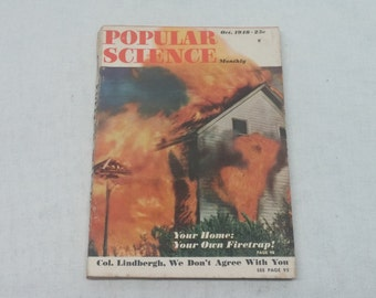 Popular Science October 1948 - Great Condition - Fascinating Articles and Hundreds of Vintage Advertisements - Vintage Indian MC Ad