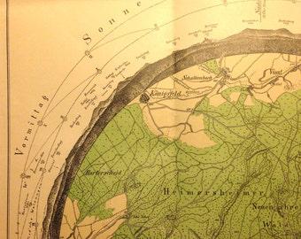 Antique Hiking MAP // 1912 // Panorama-form // Germany // Sphere // Round // Neuenahr / Ahrweiler / Pfalz