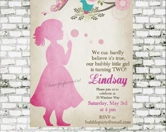 Bubbles Invitation - Blow Bubbles - Birthday Party Decor Pack - Pastel Pink - digital