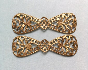 2 x Vintage large brass ornate filigree bow stampings findings 55mm