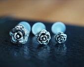 Rose flower sterling silver push in 16gauge bio flexible tragus / lip labret / helix / cartilage piercing