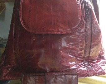 70s-80s DEEP RED SUNCO Eelskin Bag with Matching Wallet 'Made in Korea'