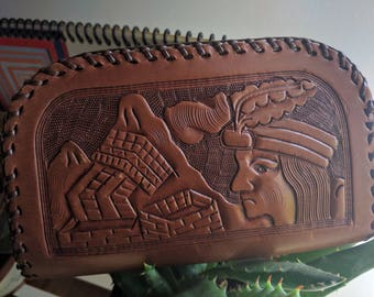 VINTAGE INCAN THEMED Tooled Leather Wristlet with Zip Top Closure