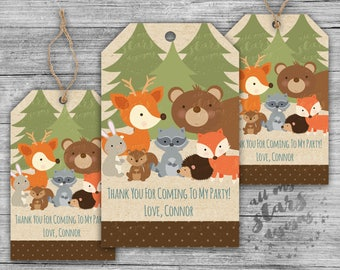 Camping Party Favor Tags- Woodland Animals | Customized PRINTABLE Party Favor Hang Tags   | Coordinating Birthday Party Printables Available