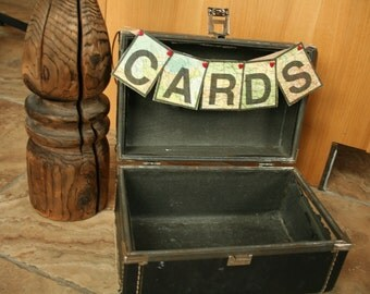 Vintage Navy Blue Train Case, Wedding Card Box, Vintage Suitcase, Card Box, Map Sign, Storage, Home Decor, Grunge