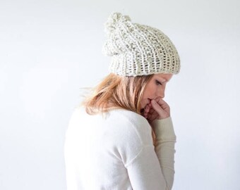 SPRING SALE chunky knit womens slouchy hat beanie pom hat - wheat - the WINDSOR