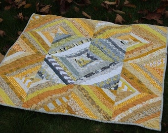 Yellow and Gray String Baby Quilt