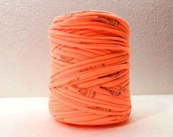 T-Shirt yarn, cotton cord, orange patterned  t-shirt yarn, Necklaces Bracelets, home decor, Pass Pass thread