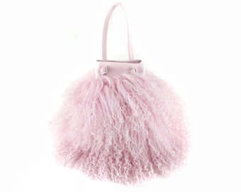 NEW! Cotton Candy Mongolian Fur & Leather Drawstring Mini | Pale Pink Bag | Fur Bag | Tibetan | Handbag | Fur Purse | Handmade