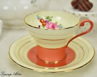 Aynsley Art Deco Orange Teacup and Saucer set, English Bone China Tea Cup,  ca. 1939