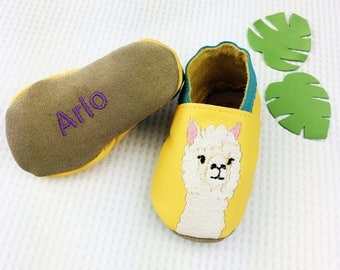 Personalised Baby Shoes - Alpaca baby shoes - alpaca baby clothes - new baby gift - personalised baby gift - first birthday gift