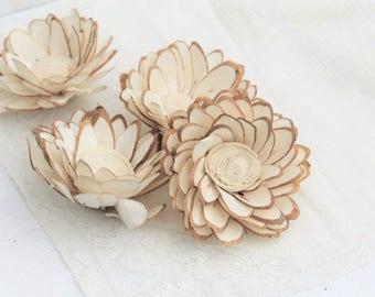 "Sola Flowers Dahlia Wood Chip Flower Sola Wood Flower Natural Ivory 8cm - 3"" Large Set of 4 DIY Bride Bouquet Supply"