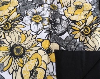 Black and yellow floral Handmade Baby Blanket