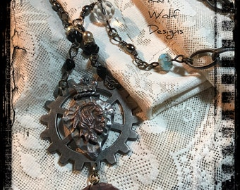 Indian, Arrowhead, Necklace, Steam punk, Gear, Repurposed, Vintage, Chandelier Crystals, Chunky, Statement Created By: Kari Wolf Designs