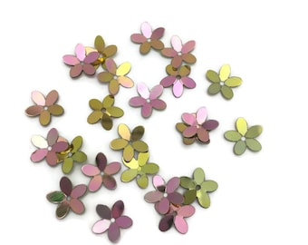 30 foil gold flower fluted sequin bead caps  with violet iridescent finish