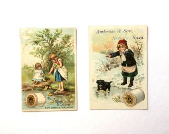 Antique  J and P Coats Thread Trade Cards, Set of Two Advertising Trade Cards, 1890s Children and Animals Trade Cards, Thread Advertising