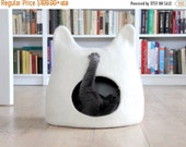 Cat bed - cat cave - cat house - eco-friendly handmade felted wool cat bed - natural white - made to order - unique gift