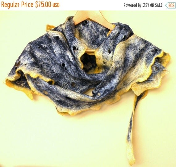 Women cobweb felted woool and silk scarf, navy blue and yellow scarf - made to order