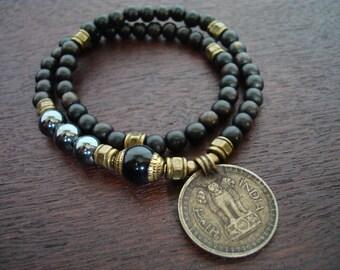 Tibetan Capped Onyx Indian Coin Mala Bracelet // Hematite 54 Bead Double Wrap Mala Bracelet // Yoga, Buddhist, Prayer Beads, Jewelry