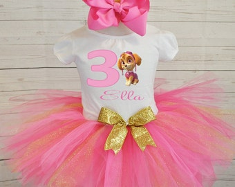 pink and gold birthday outfit, FREE SHIPPING birthday outfit,birthday girl outfit, birthday tutu,hot pink tutu,girl birthday outfit,