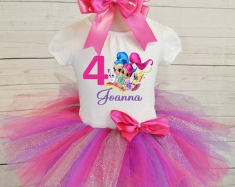 birthday girl outfit,FREE SHIPPING,Shimmer and Shine,birthday girl,birthday girl outfit,pink outfit,birthday set,pink tutu set,purple,silver